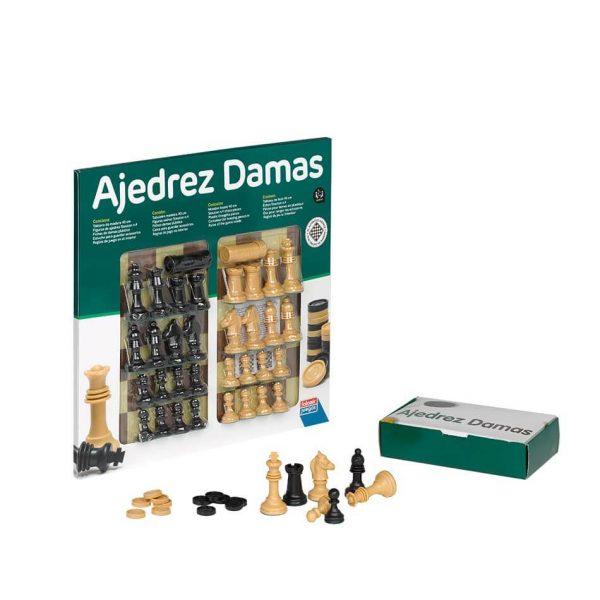 Juego Falomir - Ajedrez-Damas 40 cm con accesorios